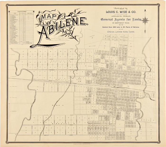 Map Of Northwest Texas.Map Of Abilene Published By Louis C Wise Co General Agents For Lands In Northwest Texas Control Over 500 Lots In All Parts Of Abilene