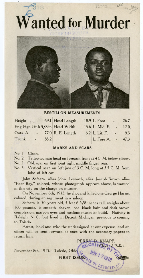 [PHOTOGRAPHIC WANTED POSTER FOR AN AFRICAN-AMERICAN MURDER SUSPECT IN TOLEDO, OHIO IN 1913]. African-Americana.