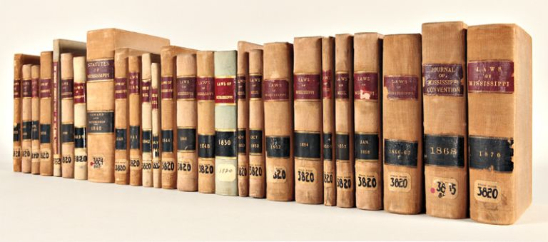 [VAST COLLECTION OF MISSISSIPPI STATE LAWS, 1831 - 1870]. Mississippi Laws.