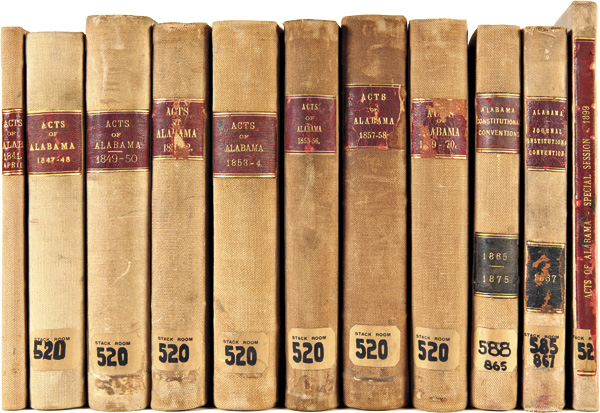 [COLLECTION OF ALABAMA LAW IMPRINTS, INCLUDING A CONSECUTIVE RUN OF ACTS PASSED BY BIENNIAL STATE LEGISLATIVE SESSIONS FROM 1847 TO 1858, THE CONSTITUTION AND ORDINANCES OF THE 1865 STATE CONVENTION, AND THE JOURNALS OF THE STATE CONSTITUTIONAL CONVENTIONS OF 1867 AND 1875]. Alabama.
