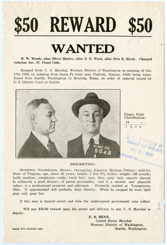 [WANTED POSTER FOR A PRISONER ESCAPED IN PEABODY, KANSAS ON OCTOBER 17th, 1925]. Crime, Kansas.