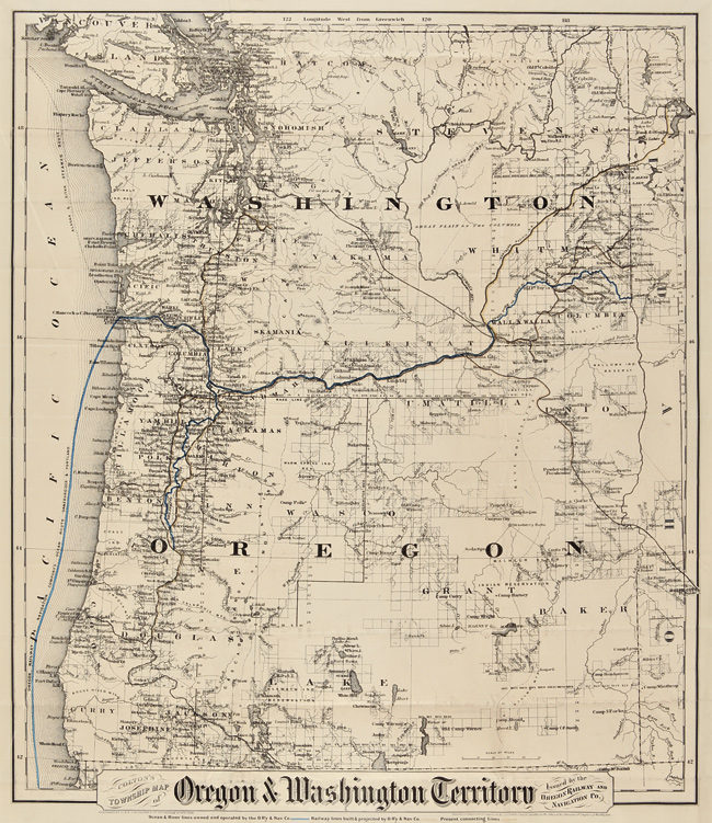 Oregon Washington Map COLTON'S TOWNSHIP MAP OF OREGON & WASHINGTON TERRITORY, ISSUED BY
