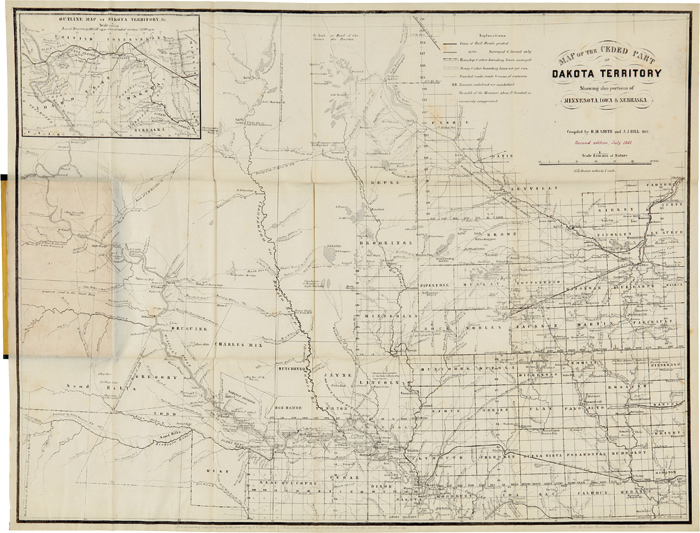 MAP OF THE CEDED PART OF DAKOTA TERRITORY. SHOWING ALSO PORTIONS OF MINNESOTA, IOWA & NEBRASKA. B. M. Smith, J A. Hill.