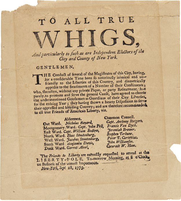 TO ALL TRUE WHIGS, AND PARTICULARLY TO SUCH AS ARE INDEPENDENT ELECTORS OF THE CITY AND COUNTY OF NEW YORK...[caption title]. American Revolution, New York.