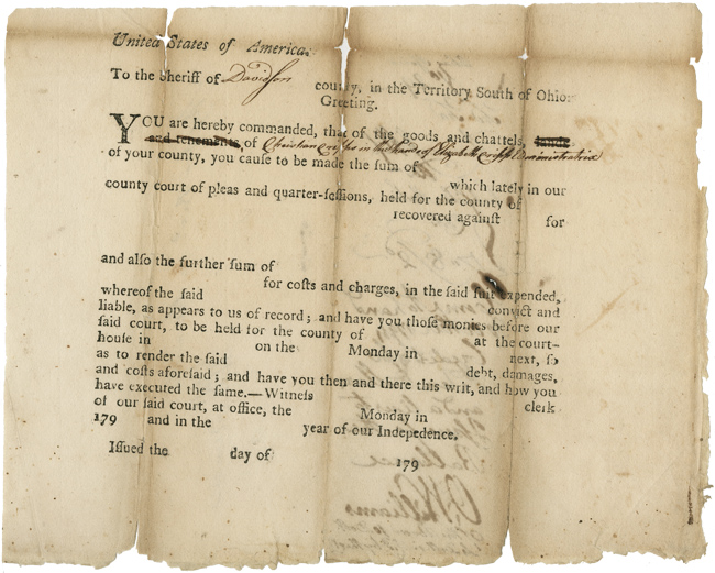 [PRINTED LEGAL FORM, PARTIALLY COMPLETED IN MANUSCRIPT, FOR USE IN COURT CASES CONDUCTED IN TERRITORIAL TENNESSEE]. Tennessee Imprint.