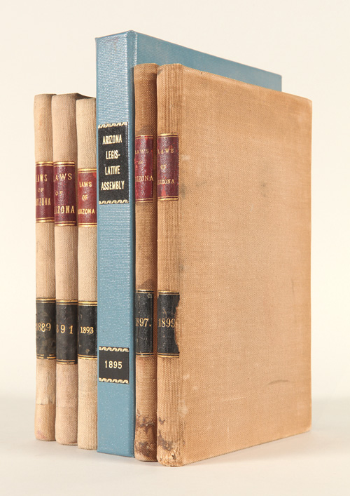 [CONSECUTIVE COLLECTION OF LATE-19th-CENTURY SESSION LAWS FROM THE LEGISLATIVE ASSEMBLY OF THE TERRITORY OF ARIZONA]. Arizona.