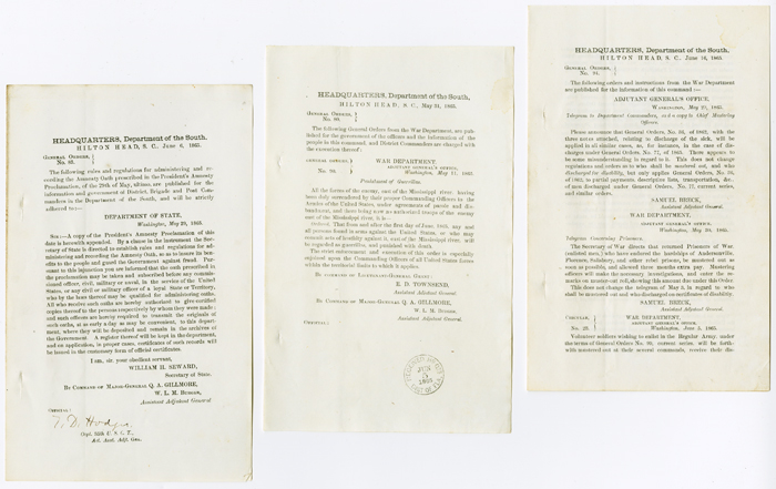 [THREE SEPARATE WORKS CONTAINING GENERAL ORDERS AND A CIRCULAR FROM THE UNION ARMY'S DEPARTMENT OF THE SOUTH, PRINTED JUST AFTER THE END OF THE CIVIL WAR, REGARDING ISSUES RELEVANT TO THE END OF AN ARMED CONFLICT, INCLUDING ONE THREATENING PUNISHMENT OF SOUTHERNERS FOR CONTINUED RESISTANCE]. Civil War.