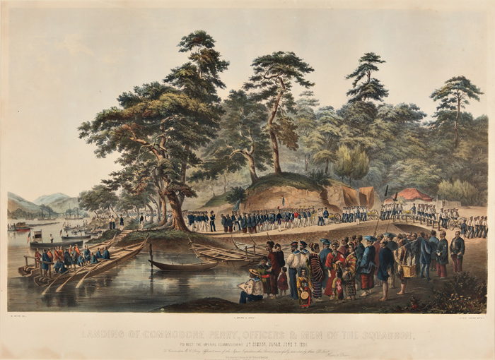 [SERIES OF SIX LITHOGRAPHS ILLUSTRATING THE OPENING OF JAPAN UNDER COMMODORE MATTHEW C. PERRY]. William Heine.