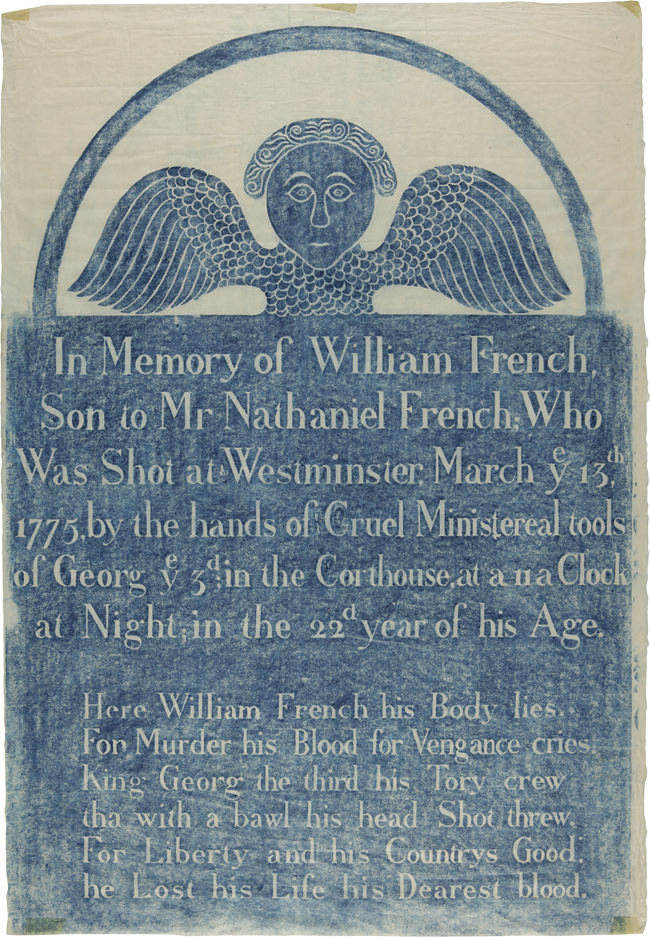 [GRAVESTONE RUBBING OF THE HEADSTONE OF WILLIAM FRENCH, KILLED BY BRITISH OFFICERS DURING THE WESTMINSTER MASSACRE]. American Revolution, William French.
