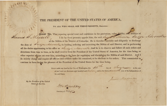 THE PRESIDENT OF THE UNITED STATES OF AMERICA, TO ALL WHO SHALL SEE THESE PRESENTS, GREETING. James Madison, War of 1812.
