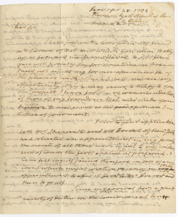 [AUTOGRAPH LETTER, SIGNED, FROM AMERICAN MINISTER TO FRANCE JAMES MONROE TO JOHN HENRY PURVIANCE, REGARDING MONROE'S NEW DUTIES AND HIS NEED FOR CONSULAR ASSISTANCE]. James Monroe.