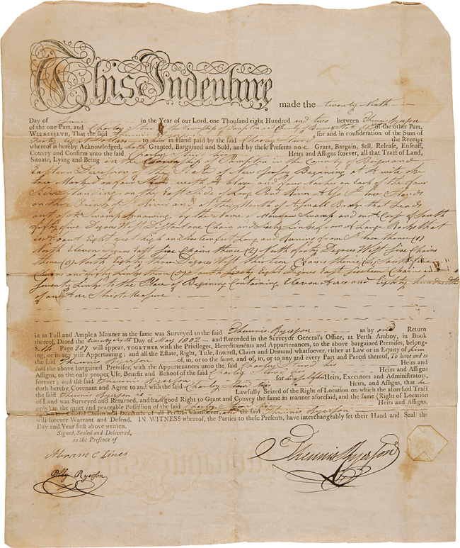 [NEW JERSEY LAND INDENTURE BETWEEN THUNNIS RYERSON AND CHARLEY STUARD FOR LAND IN BERGEN COUNTY, NEW JERSEY, 1802]. New Jersey.
