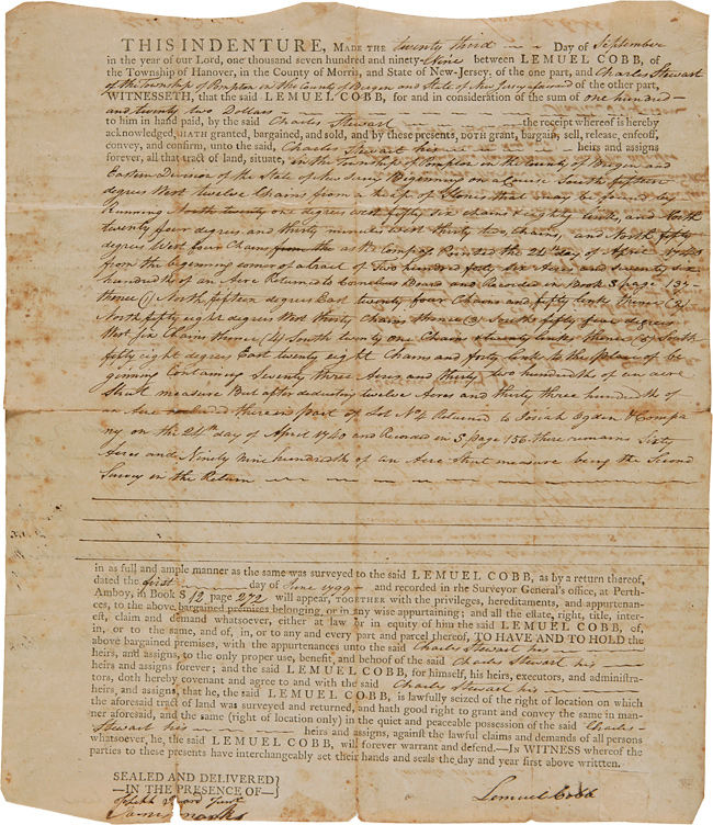 [NEW JERSEY LAND INDENTURE BETWEEN LEMUEL COBB AND CHARLES STEWART FOR LAND IN BERGEN COUNTY, NEW JERSEY, 1799]. New Jersey.