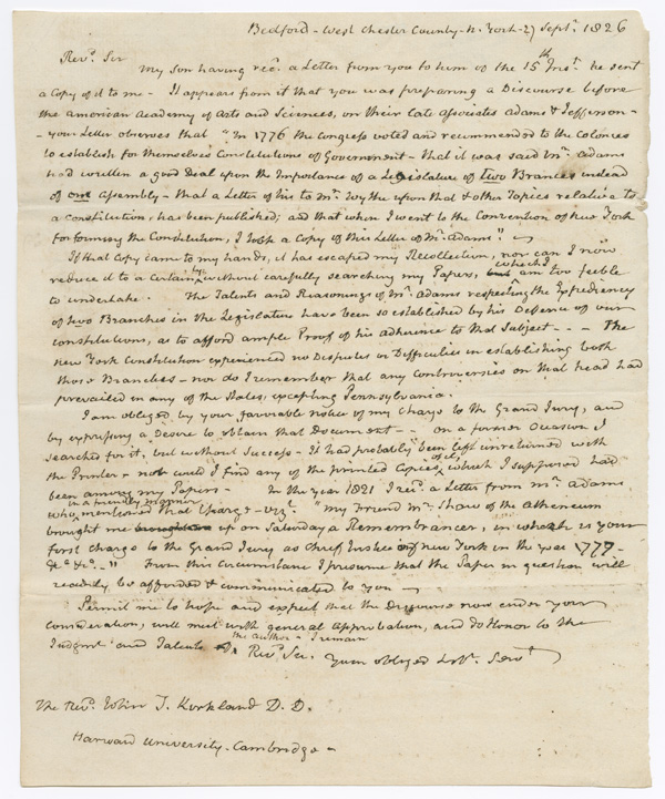 [RETAINED DRAFT, COMPLETELY IN HIS HAND, OF AN AUTOGRAPH LETTER FROM JOHN JAY TO REV. JOHN T. KIRKLAND, PRESIDENT OF HARVARD UNIVERSITY, RECALLING FUNDAMENTAL POLITICAL DISCUSSIONS OF 1776 AND 1777, INCLUDING CONTENT ON THE BICAMERAL NATURE OF THE AMERICAN CONGRESS]. John Jay.