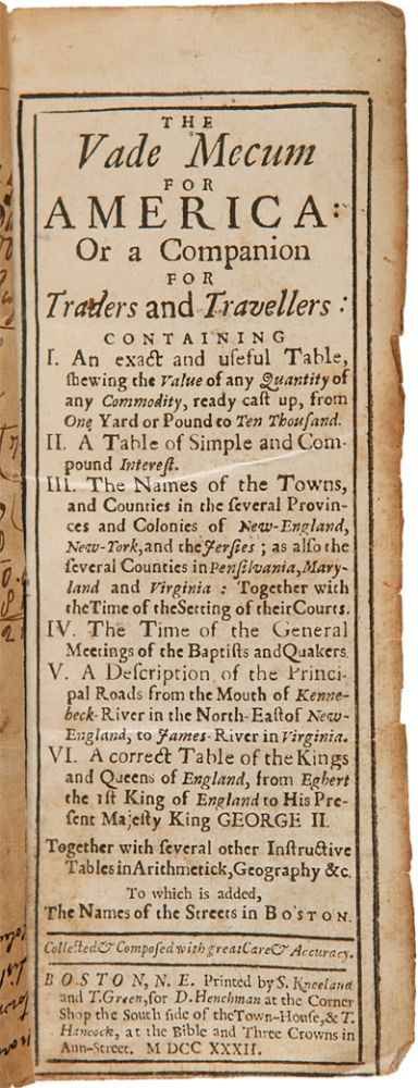 THE VADE MECUM FOR AMERICA: OR A COMPANION FOR TRADERS AND TRAVELLERS. Thomas Prince.