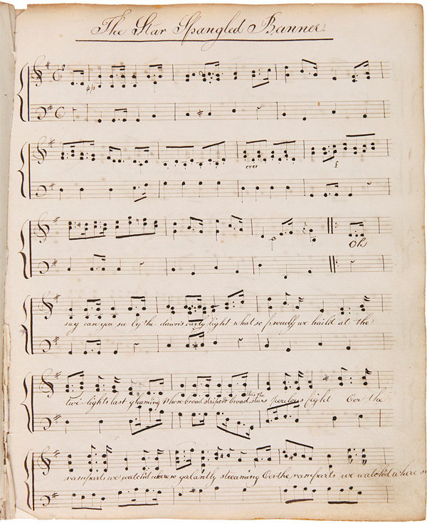 [BOUND COLLECTION OF MANUSCRIPT MUSIC TRANSCRIBED AND COMPOSED BY OLIVER SHAW AND HIS PUPIL JULIA HAZARD, INCLUDING AN EARLY VERSION OF THE STAR-SPANGLED BANNER AND MANY OTHER COMPOSITIONS ON AMERICAN POLITICAL AND HISTORICAL THEMES]. Oliver Shaw, Julia Hazard.