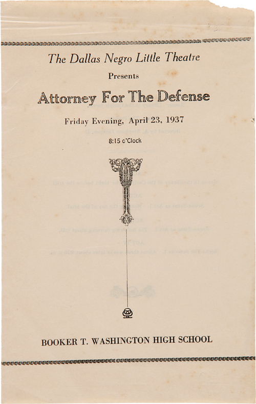 THE DALLAS NEGRO LITTLE THEATRE PRESENTS ATTORNEY FOR THE DEFENSE [wrapper title]. African Americana, Texas.