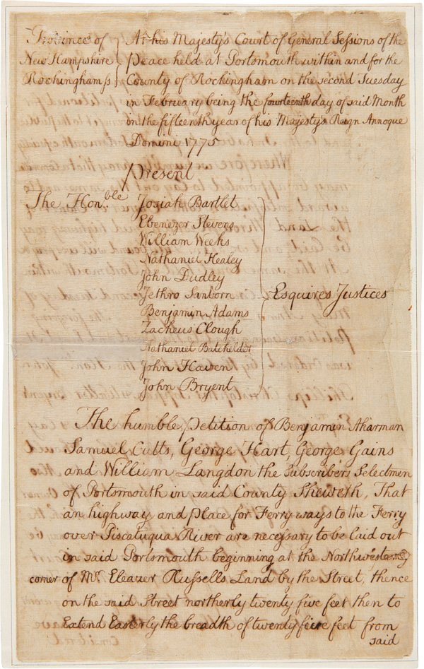 "[MANUSCRIPT PETITION BY THE SELECTMEN OF PORTSMOUTH TO SET ASIDE LAND FOR A ""HIGHWAY AND PLACE"" FOR A FERRY ACROSS THE PISCATAQUA RIVER, CONNECTING PORTSMOUTH WITH KITTERY, MAINE]. American Revolution, New Hampshire."