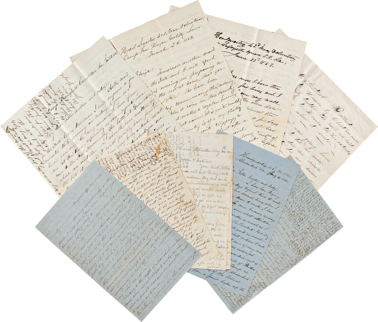 [ARCHIVE OF AUTOGRAPH LETTERS, SIGNED, BY LT. COL. JOSEPH STEDMAN OF THE 6th AND 42nd REGIMENTS MASSACHUSETTS VOLUNTEERS, WITH ACCOUNTS OF SKIRMISHES IN BALTIMORE, A LONG ACCOUNT OF THE BATTLE OF GALVESTON, AND A DETAILED ACCOUNT OF THE BATTLE OF LaFOURCHE CROSSING IN LOUISIANA]. Joseph Stedman.