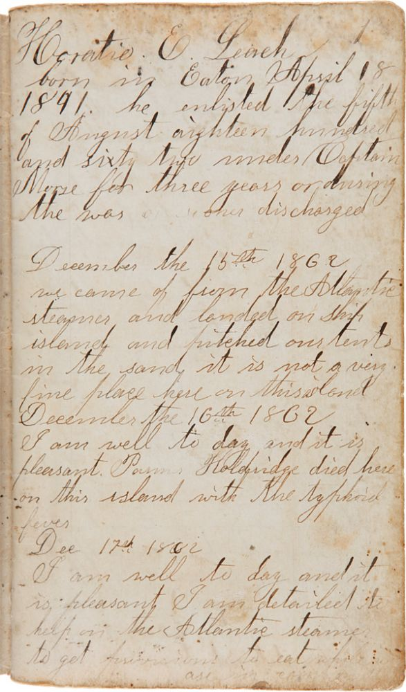 [MANUSCRIPT POCKET DIARY RECORDING THE CIVIL WAR BATTLE EXPERIENCES OF HORATIO E. LEACH, COMPANY D OF THE 114th NEW YORK STATE VOLUNTEERS IN LOUISIANA, INCLUDING DETAILED, FIRST-HAND REPORTS DURING THE ENTIRETY OF THE SIEGE OF PORT HUDSON]. Horatio E. Leach.