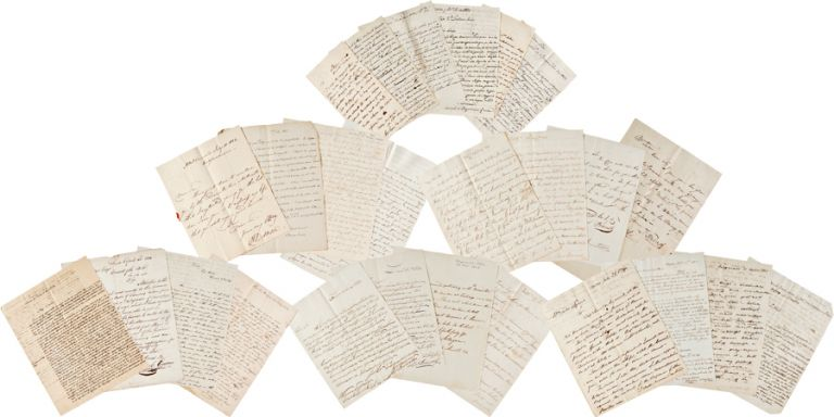 [AN IMPORTANT COLLECTION OF FORTY-SIX LETTERS SENT TO WILLIAM TUDOR, UNITED STATES CONSUL IN PERU, WRITTEN TO TUDOR BY COMMODORE ISAAC HULL, BRITISH NAVAL CAPTAIN THOMAS JAMES MALING, AND OTHERS IN PERU REGARDING THE NAVAL BLOCKADE OF CALLAO INSTIGATED BY SPAIN IN RESPONSE TO SIMÓN BOLÍVAR'S PERUVIAN REVOLUTION AND OTHER DIPLOMATIC MATTERS]. William Tudor, Isaac: Maling Hull, Thomas James.
