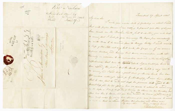 [AUTOGRAPH LETTER, SIGNED, FROM ROBERT NEILSON IN TRINIDAD TO JOHN L. ANDERDON IN LONDON, DISCUSSING THE LABOR FORCE AT ANDERDON'S BRECHIN CASTLE SUGAR PLANTATION IN TRINIDAD]. Robert Neilson.