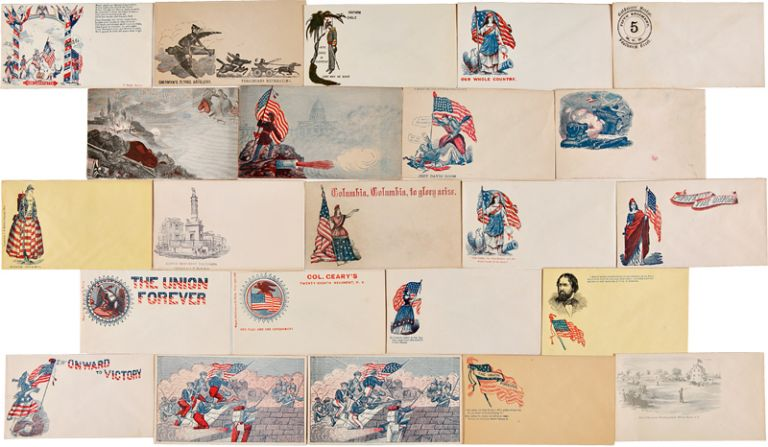 [SUBSTANTIAL COLLECTION OF 119 UNUSED CIVIL WAR-ERA PATRIOTIC POSTAL COVERS, ALL BUT ONE OF THEM ILLUSTRATED, ALMOST ALL WITH ORIGINAL PRINTED OR HAND-COLORING]. Civil War Covers.
