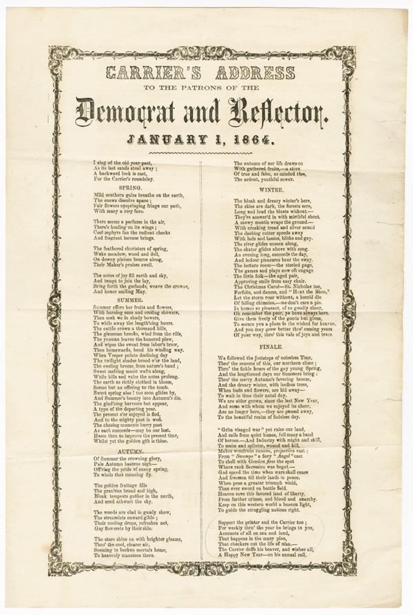 CARRIER'S ADDRESS TO THE PATRONS OF THE DEMOCRAT AND REFLECTOR. JANUARY 1, 1864. Carrier's Address, Civil War.