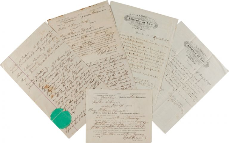 [COLLECTION OF SIX DOCUMENTS RELATING TO A DIVORCE CASE IN THE DAKOTA TERRITORY, BETWEEN A HUSBAND WHO VENTURED TO THE TERRITORY WHILE HIS WIFE RETURNED TO NORTH CAROLINA]. Dakota Territory, Walter C. Harris, Mary W.