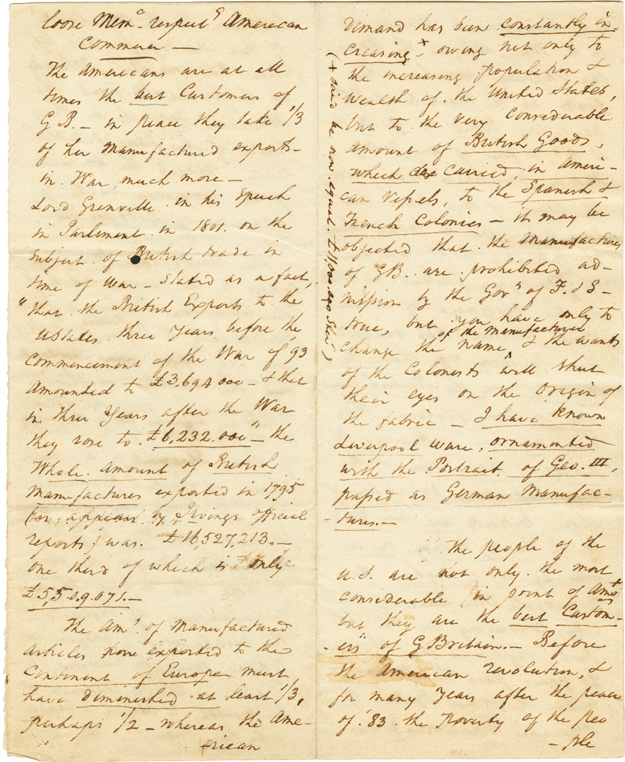 """[MANUSCRIPT ESSAY ENTITLED """"LOOSE MEMO. RESPECT[ING] AMERICAN COMMERCE,"""" WRITTEN BY AN ANONYMOUS BRITISH ANALYST DURING THE NAPOLEONIC WARS, DESCRIBING THE IMPORTANCE OF THE UNITED STATES AS A SOURCE OF RAW MATERIALS AND AS A MARKET FOR BRITISH COMMERCE]. United States-Great Britain Commerce."""