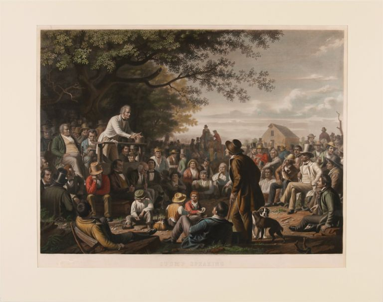 STUMP SPEAKING. THIS PRINT FROM THE ORIGINAL PAINTING BY GEO. C. BINGHAM ESQ. IS RESPECTFULLY DEDICATED TO THE FRIENDS OF AMERICAN ART BY THE PUBLISHERS GOUPIL & CO. George Caleb Bingham.