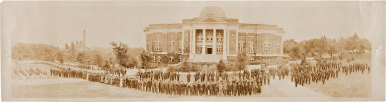 PRESIDENT MOTON AND FACULTY WITH TRUSTEES OF TUSKEGEE INSTITUTE AND ENTIRE STUDENT BODY TUSKEGEE, ALA. FOUNDER'S DAY, APRIL 5th 1918. Alabama, Tuskegee Institute.