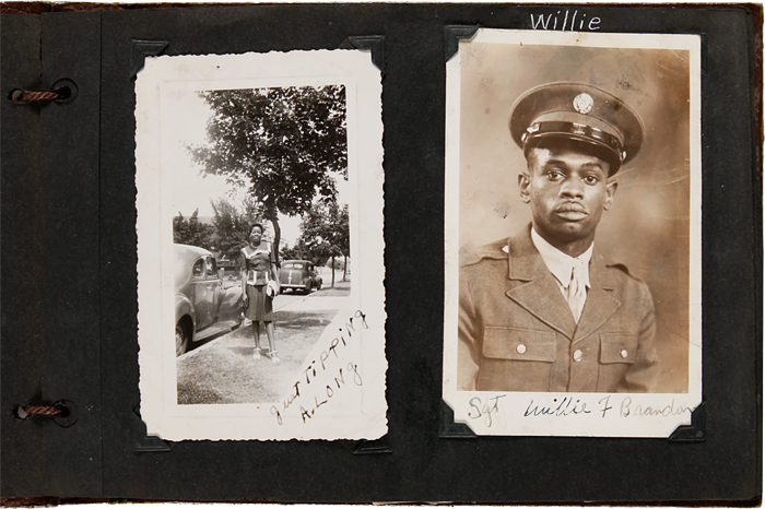 [ANNOTATED VERNACULAR PHOTOGRAPH ALBUM KEPT BY AN AFRICAN-AMERICAN WOMAN FROM WASHINGTON, D.C., DOCUMENTING HER FAMILY MEMBERS, ESPECIALLY HER MILITARY BROTHERS WHO SERVED IN WORLD WAR II]. African-American Photographica, Ola A. Mayo Brandon.