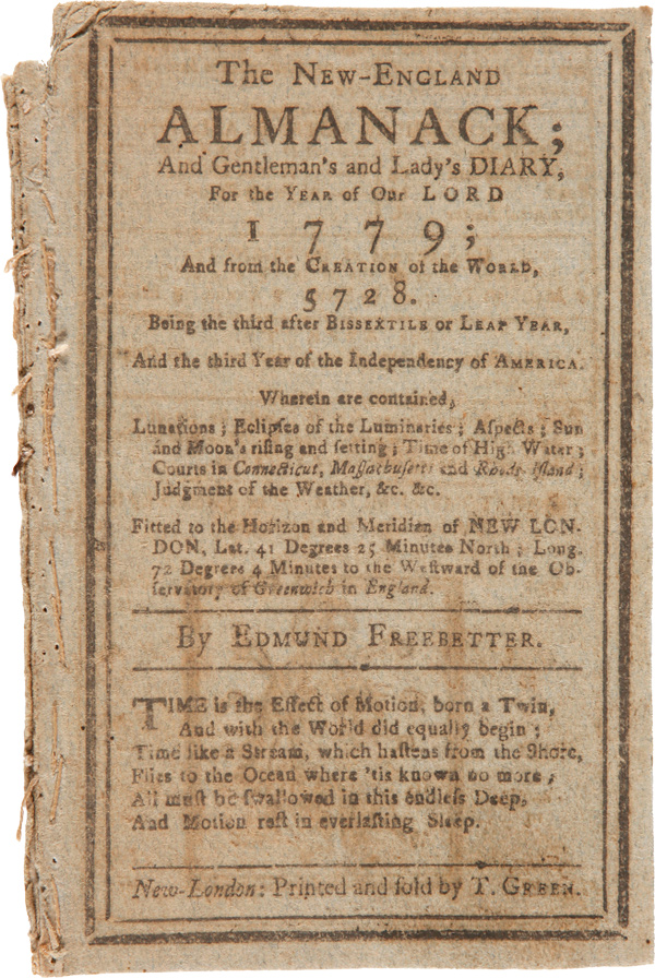 THE NEW-ENGLAND ALMANACK; AND GENTLEMAN'S AND LADY'S DIARY, FOR THE YEAR OF OUR LORD 1779...By Edmund Freebetter. Nathan Daboll.