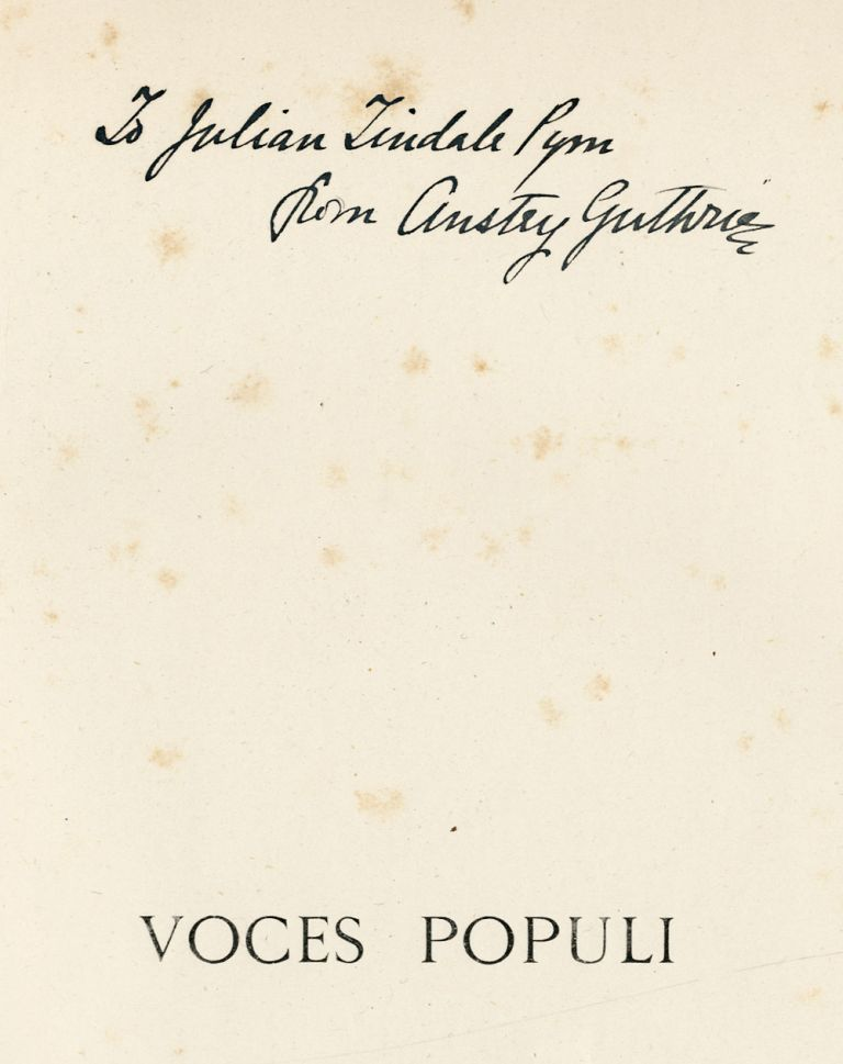 """VOCES POPULI [REPRINTED FROM """"PUNCH""""]... WITH TWENTY ILLUSTRATIONS BY BERNARD J. PARTRIDGE. F. Anstey, pseud. of Thomas Anstey Guthrie."""