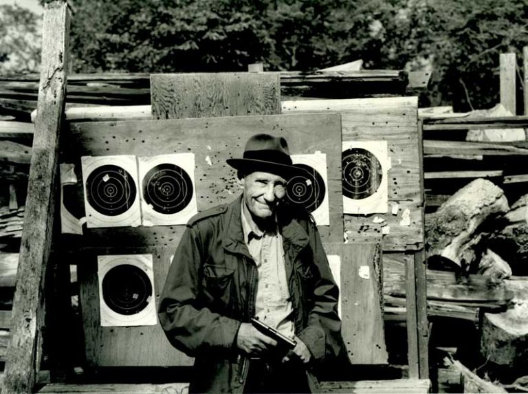 ORIGINAL PHOTOGRAPHIC PORTRAIT OF WILLIAM BURROUGHS, INSCRIBED BY THE PHOTOGRAPHER. William S. Burroughs, Nelson Lyon.