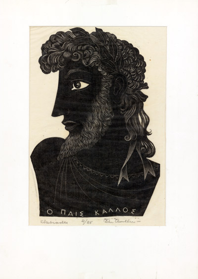 "[Original Wood Engraving, Signed] ""ALCIBIADES."" John Austen."