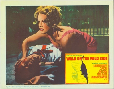 [Group of Seven Color Lobby Cards for:] WALK ON THE WILD SIDE. Nelson Algren, John Fante, sourcework, screenwriter.