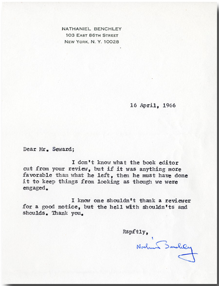 THREE TYPED LETTERS, SIGNED. Nathaniel Benchley.