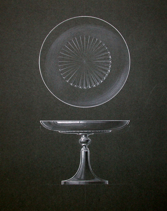 [ORIGINAL DESIGN FOR ART DECO CAKE PEDESTAL]. Art Deco Manufacturing Design.