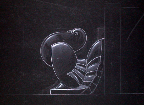 [ORIGINAL DESIGN FOR ART DECO TURKEY BOOKEND]. Art Deco Manufacturing Design.