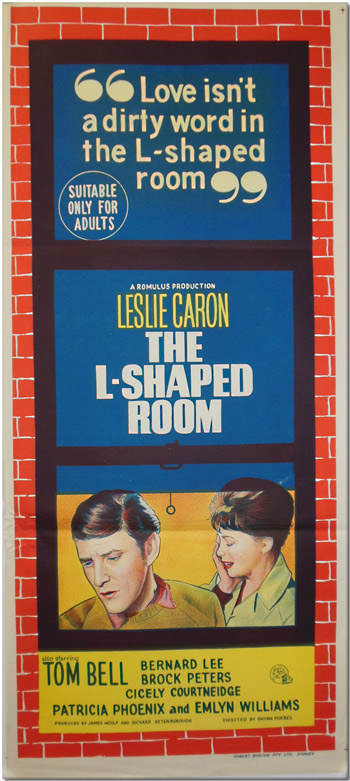 Original Lithographed Australian Daybill for THE L-SHAPED ROOM. Lynne Reid Banks, screenwriter, director, sourcework.