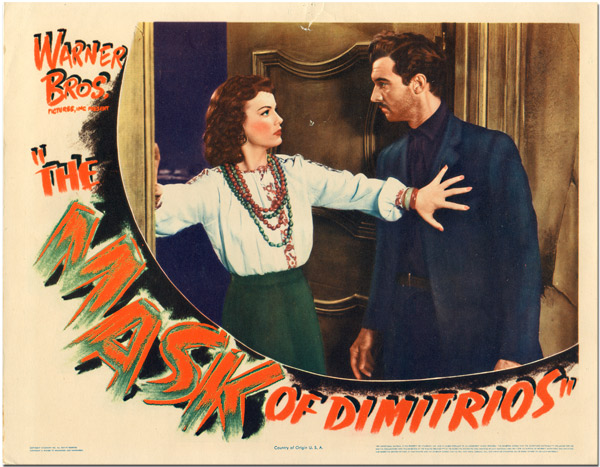 [Original Lobby Card for:] THE MASK OF DIMITRIOS. Eric Ambler, Stephen M. Avery, sourcework, screenwriter.