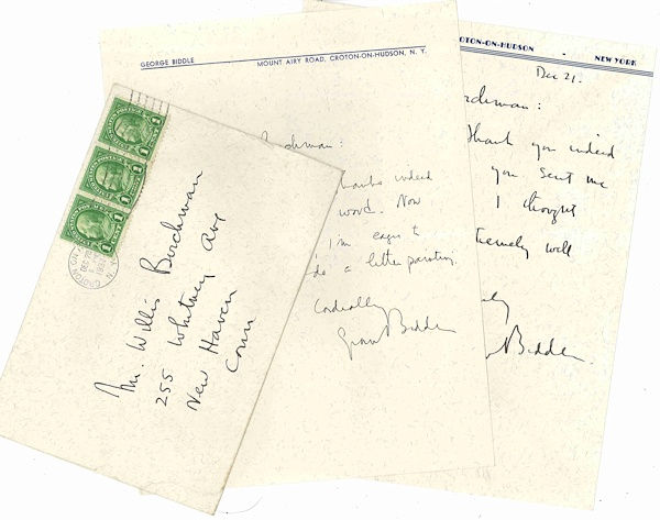 [Two Autograph Letters, Signed]. George Biddle, 1885 - 1973.
