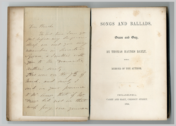 SONGS AND BALLADS, GRAVE AND GAY ... WITH A MEMOIR OF THE AUTHOR. Nathaniel Thomas Haynes Bayly.