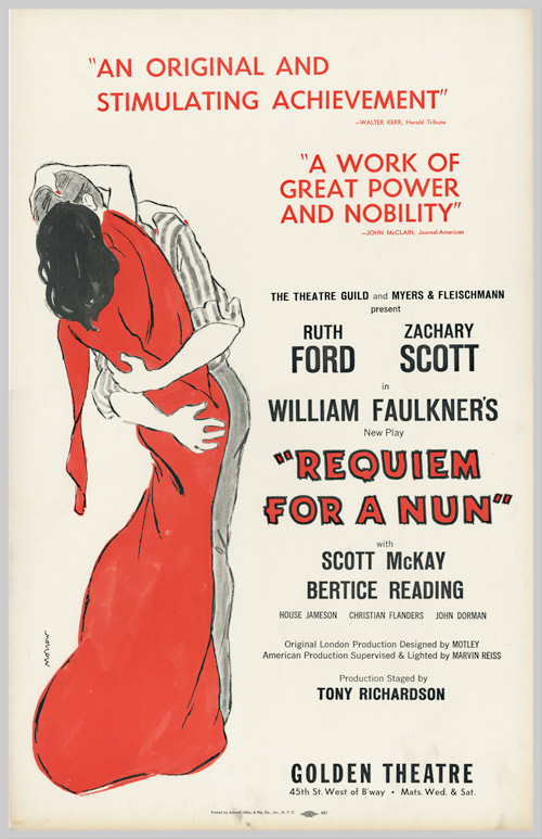[Theatrical Window Card Poster for:] REQUIEM FOR A NUN. sourcework, adap, William Faulkner, Ruth Ford.