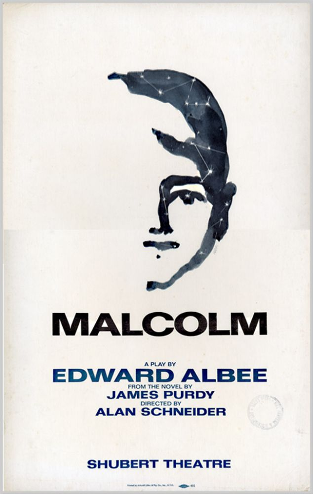 [Theatre Window Card for:] MALCOLM. Edward Albee, James Purdy, dramatist, sourcework.