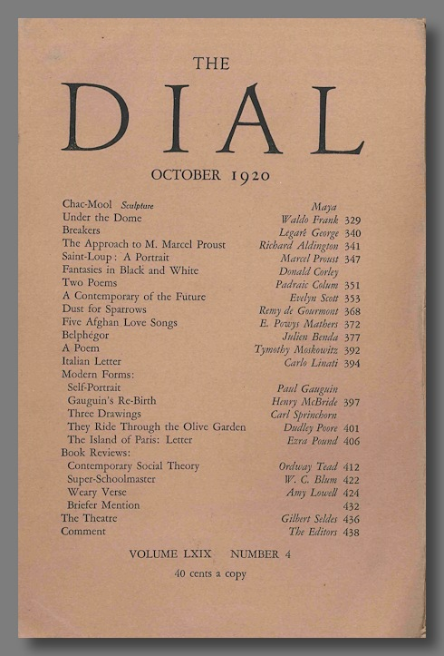 """""""Dust For Sparrows,"""" contained in THE DIAL. Ezra Pound, trans."""