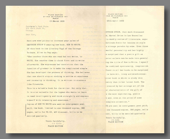 two signed promotional letters re how to write gertrude stein