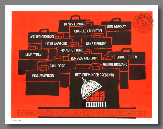 [Title Lobby Card for:] ADVISE & CONSENT. Saul Bass, designer.